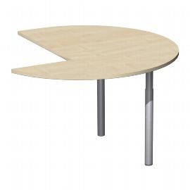 Geramöbel 555011 Anbautisch Dreiviertel links 4-Fuß Flex (BxT) 120x120cm höhenverstellbar 68-80cm Ahorn/Silber