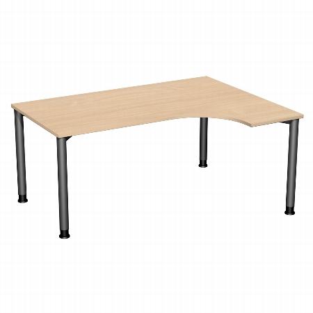 Geramöbel PC-Schreibtisch 555307 4-Fuß Flex PC rechts höhenverstellbar 68-80cm (BxT) 160x120cm Ahorn/Silber