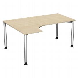 Geramöbel PC-Schreibtisch 555308 4-Fuß Flex PC links höhenverstellbar 68-80cm (BxT) 160x120cm Ahorn/Silber