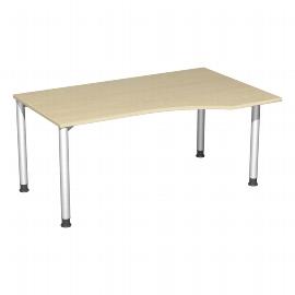 Geramöbel PC-Schreibtisch 555311 4-Fuß Flex PC rechts höhenverstellbar 68-80cm (BxT) 160x100cm Ahorn/Silber
