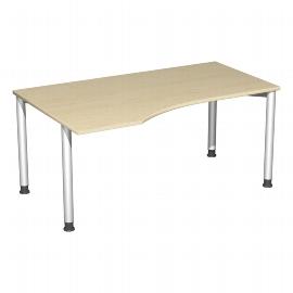 Geramöbel PC-Schreibtisch 555312 4-Fuß Flex PC links höhenverstellbar 68-80cm (BxT) 160x100cm Ahorn/Silber