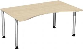 Geramöbel 555336 Schreibtisch 4-Fuß Flex ERGOform höhenverstellbar 68-82cm (BxT) 160x100cm Ahorn/Silber