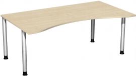 Geramöbel 555337 Schreibtisch 4-Fuß Flex ERGOform höhenverstellbar 68-82cm (BxT) 180x100cm Ahorn/Silber