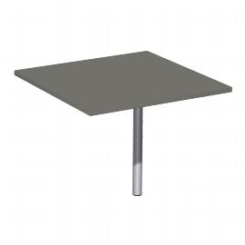 Geramöbel Verkettungsplatte 617008 C-Fuß Flex Volleck 90° inkl. Stützfuß (BxTxH) 80x80x68-82cm Ahorn/Silber