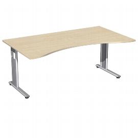Geramöbel 618337 Schreibtisch ERGOform C-Flex feste Höhe (BxTxH) 180x100x72cm Ahorn/Silber