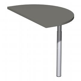 Geramöbel 647006 Anbautisch halbrund mit Stützfüßen (BxTxH) 500x800x680-820mm Ahorn/Silber