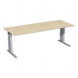 Geramöbel Schreibtisch 647147 C-Fuß PRO höhenverstellbar 68-82cm (BxT) 200x80cm Ahorn/Silber