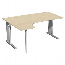 Geramöbel Schreibtisch 647308 C-Fuß PRO PC links höhenverstellbar 68-82cm (BxT) 160x120cm Ahorn/Silber