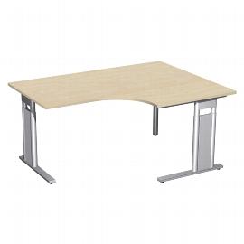 Geramöbel Eckschreibtisch C-Fuß PRO PC rechts höhenverstellbar 68-82cm (BxT) 160x120/80cm Ahorn/Silber