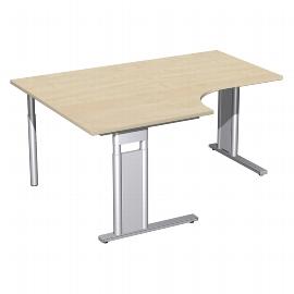 Geramöbel Schreibtisch 647320 C-Fuß PRO PC links höhenverstellbar 68-82cm (BxT) 160x120/80cm Ahorn/Silber