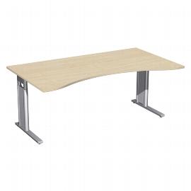 Geramöbel Schreibtisch 647337 C-Fuß PRO ERGOform höhenverstellbar 68-82cm (BxT) 180x100cm Ahorn/Silber