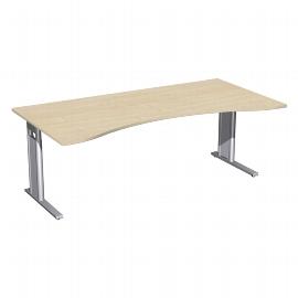 Geramöbel Schreibtisch 647338 C-Fuß PRO ERGOform höhenverstellbar 68-82cm (BxT) 200x100cm Ahorn/Silber