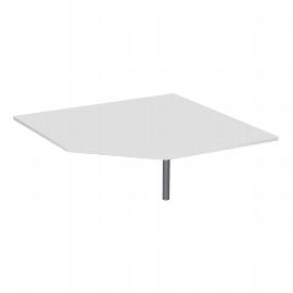 Geramöbel 647510 Verkettungsplatte Fünfeck 90° mit Stützfuß (BxTxH) 1225x1225x680-820mm Ahorn/Silber