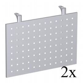Geramöbel Knieraumblende gelocht 647609 für 90° Volleck-Verkettungsplatte (2er Set) Höhe 40cm Silber