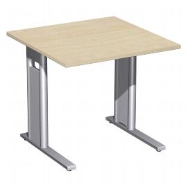 Geramöbel Schreibtisch 648101 C-Fuß PRO feste Höhe (BxTxH) 80x80x72cm Ahorn/Silber
