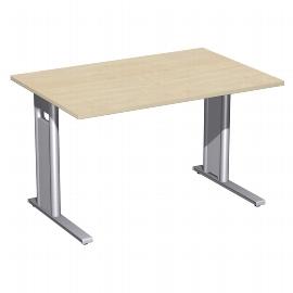 Geramöbel Schreibtisch 648102 C-Fuß PRO feste Höhe (BxTxH) 120x80x72cm Ahorn/Silber