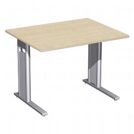 Geramöbel Schreibtisch 648144 C-Fuß PRO feste Höhe (BxTxH) 100x80x72cm Ahorn/Silber