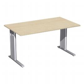 Geramöbel Schreibtisch 648145 C-Fuß PRO feste Höhe (BxTxH) 140x80x72cm Ahorn/Silber