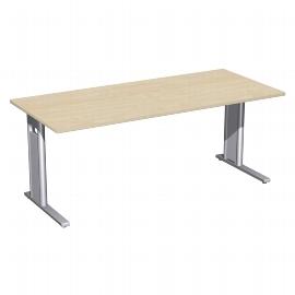 Geramöbel Schreibtisch 648146 C-Fuß PRO feste Höhe (BxTxH) 180x80x72cm Ahorn/Silber
