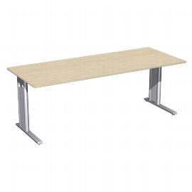 Geramöbel Schreibtisch 648147 C-Fuß PRO feste Höhe (BxTxH) 200x80x72cm Ahorn/Silber
