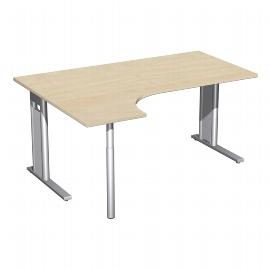 Geramöbel Schreibtisch 648308 C-Fuß PRO PC links feste Höhe (BxTxH) 160x120x72 Ahorn/Silber