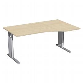 Geramöbel Schreibtisch 648311 C-Fuß PRO PC rechts feste Höhe (BxTxH) 160x100x72 Ahorn/Silber