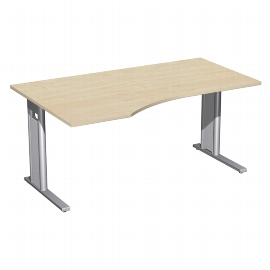 Geramöbel Schreibtisch 648312 C-Fuß PRO PC links feste Höhe (BxTxH) 160x100x72 Ahorn/Silber