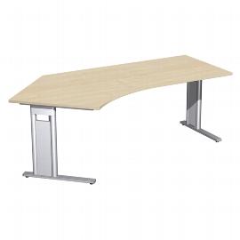 Geramöbel Schreibtisch 648315 C-Fuß PRO Winkel 135° links feste Höhe (BxTxH) 216,6x113x72 Ahorn/Silber
