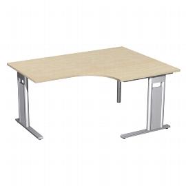 Geramöbel Eckschreibtisch 648319 C-Fuß PRO PC rechts feste Höhe (BxTxH) 160x120/80x72 Ahorn/Silber