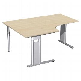 Geramöbel Schreibtisch 648320 C-Fuß PRO PC links feste Höhe (BxTxH) 160x120/80x72 Ahorn/Silber