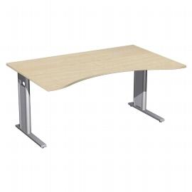 Geramöbel Schreibtisch 648336 ERGOform C-Fuß PRO feste Höhe (BxTxH) 160x100x72 Ahorn/Silber