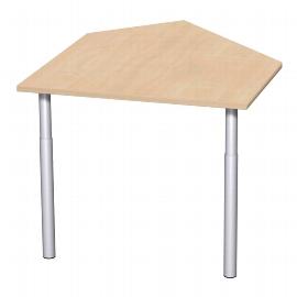 Geramöbel Anbautisch 657005 4-Fuß PRO Winkel 135° links (BxT) 106x122,5cm höhenverstellbar 68-82cm Buche/Silber