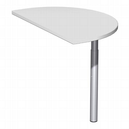 Geramöbel Anbautisch 657006 4-Fuß PRO Halbrund (BxT) 50x80cm höhenverstellbar 68-82cm Buche/Silber