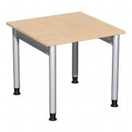 Geramöbel 657101 Schreibtisch 4-Fuß PRO höhenverstellbar 68-82cm (BxT) 80x80cm Buche/Silber