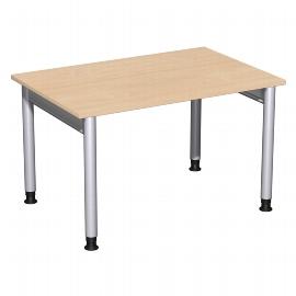 Geramöbel 657102 Schreibtisch 4-Fuß PRO höhenverstellbar 68-82cm (BxT) 120x80cm Buche/Silber