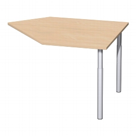 Geramöbel Anbautisch 657105 4-Fuß PRO Winkel 135° rechts (BxT) 106x122,5cm höhenverstellbar 68-82cm Buche/Silber