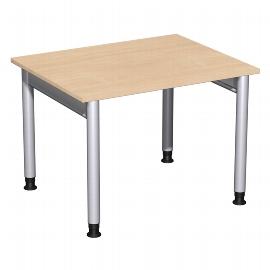 Geramöbel 657144 Schreibtisch 4-Fuß PRO höhenverstellbar 68-80cm (BxT) 100x80cm Buche/Silber