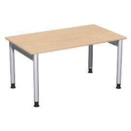 Geramöbel 657145 Schreibtisch 4-Fuß PRO höhenverstellbar 68-82cm (BxT) 140x80cm Buche/Silber