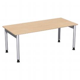 Geramöbel 657146 Schreibtisch 4-Fuß PRO höhenverstellbar 68-82cm (BxT) 180x80cm Buche/Silber