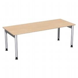 Geramöbel 657147 Schreibtisch 4-Fuß PRO höhenverstellbar 68-82cm (BxT) 200x80cm Buche/Silber