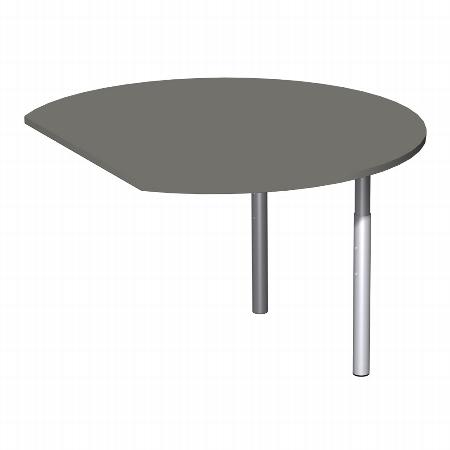Geramöbel Anbautisch 657207 4-Fuß PRO Rund (BxT) 104,7x120cm höhenverstellbar 68-82cm Buche/Silber