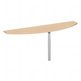 Geramöbel Anbautisch 657252 4-Fuß PRO Bogenform-S höhenverstellbar 68-82cm (BxT) 180x50cm Buche/Silber