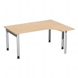 Geramöbel 657307 Schreibtisch 4-Fuß PRO Freiform PC rechts höhenverstellbar 68-82cm (BxT) 160x120cm Buche/Silber