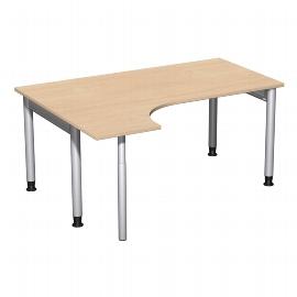 Geramöbel 657308 Schreibtisch 4-Fuß PRO Freiform PC links höhenverstellbar 68-82cm (BxT) 160x120cm Buche/Silber