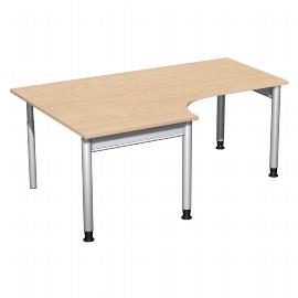 Geramöbel 657310 Schreibtisch 4-Fuß PRO Freiform PC links höhenverstellbar 68-82cm (BxT) 180x120/80cm Buche/Silber