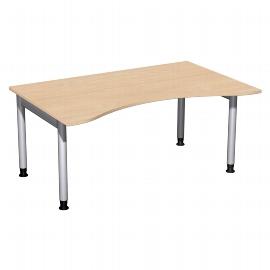 Geramöbel 657336 Schreibtisch 4-Fuß PRO ERGOform höhenverstellbar 68-82cm (BxT) 160x100cm Buche/Silber