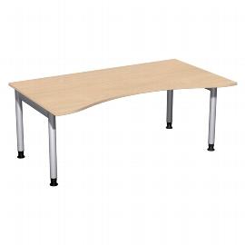 Geramöbel 657337 Schreibtisch 4-Fuß PRO ERGOform höhenverstellbar 68-82cm (BxT) 180x100cm Buche/Silber