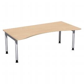 Geramöbel 657338 Schreibtisch 4-Fuß PRO ERGOform höhenverstellbar 68-82cm (BxT) 200x100cm Buche/Silber