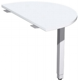 Geramöbel 667006 Anbautisch halbrund mit Stützfuß (BxTxH) 500x800x680-860mm Ahorn/Silber