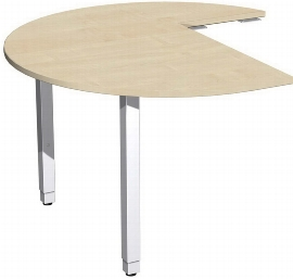Geramöbel 667011 Anbautisch Dreiviertelkreis links mit Stützfüßen (BxTxH) 1200x1200x680-860mm Ahorn/Silber
